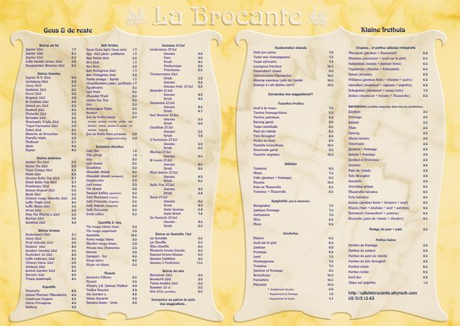 Menu café La Brocante